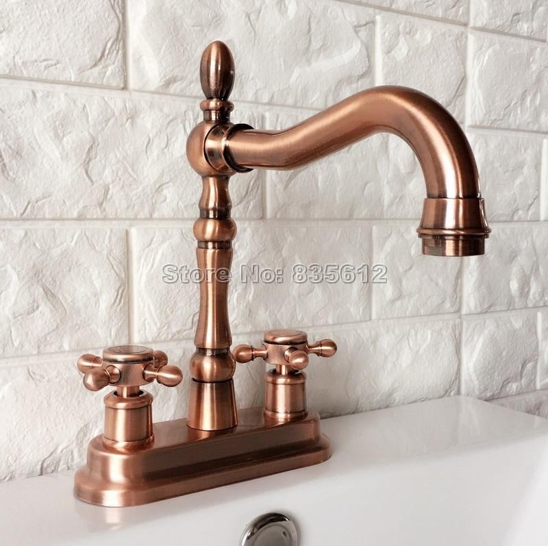 Antique Red Copper Swivel Spout Kitchen & Bathroom Faucet Dual Handle Washbasin Faucets 2 Hole Sink Mixer Taps Wrg050 antique brass swivel spout dual cross handles kitchen