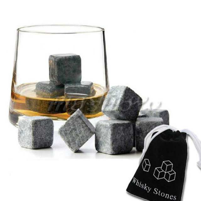 9pcs Whisky Ice Stones Drinks Cooler Cubes Whiskey Scotch Rocks Granite & Pouch -OJ