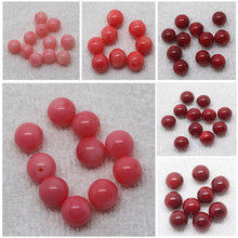 Mini.order is $7! 6-11mm Pink/Red Coral Half Hole Round Earring Beads 10Pcs
