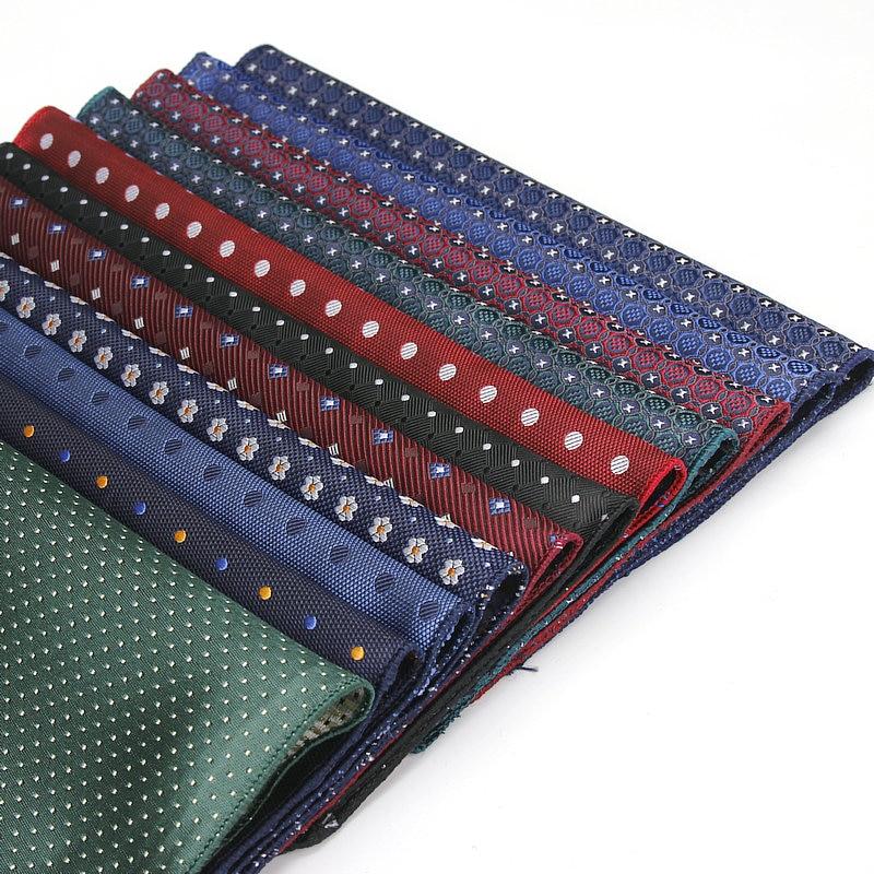 YISHLINE Luxury Men's Polyester Silk Handkerchief Pocket Square Vintage Polka Dot Hankies Wedding Party Chest Towel 22*22CM