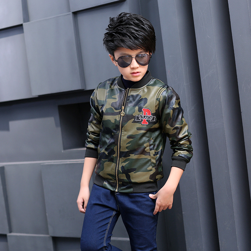 Boy Winter Camouflage Leather Jacket Lined with Velvet Childrens Thick Leather Jacket Waterproof Stains 3-8 Years Old