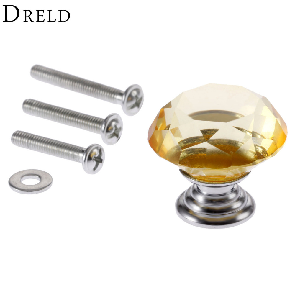 DRELD 1Pc 30mm Diamond Crystal Glass Drawer Pulls Door Cabinet Wardrobe Pull Knobs Yellow Furniture Handles + 3Pcs Screws lhll 12x clear crystal glass door knobs drawer cabinet furniture pull handles