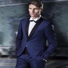 Custom Made Groomsmen suits tuxedos Shawl Black Lapel Groom Tuxedos Navy Blue Men Suits Wedding suits tuxedos (Jacket+Pants)