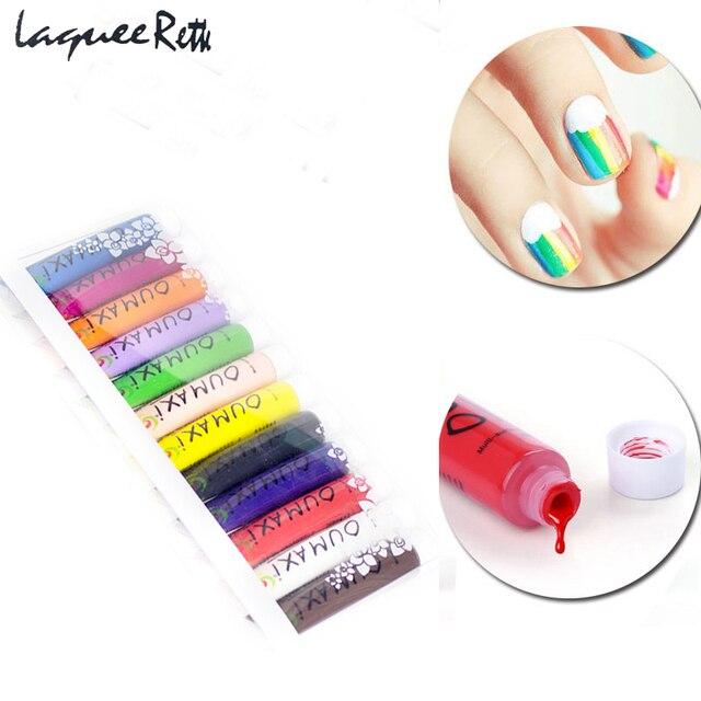 12pcslot Brand Acrylic Nail Paint Gel Multi Surface 3d Paint Oumaxi