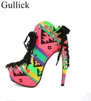 Fish Bone Heel Ankle Boots Mixed Print Colors Lace Up Ankle Bootie For Women High Heels