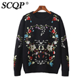 SCQP Floral Embroidery Black O-neck Womens Sweaters Casual Ladies Knitted Sweaters For Woman 2016 Fashion Winter Pullover Women