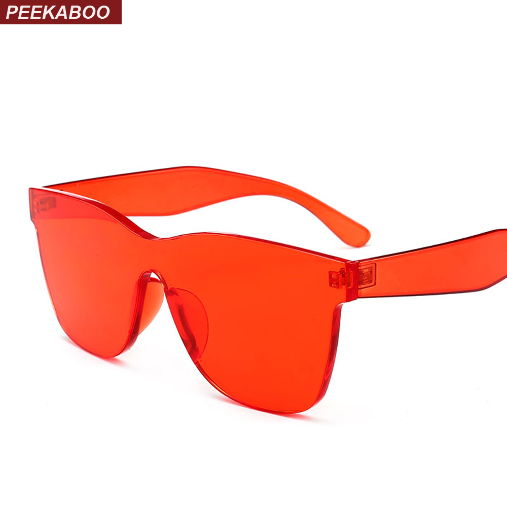Peekaboo blue candy color sunglasses one piece 2018 pink green red transparent sun glasses for women men unisex party gift
