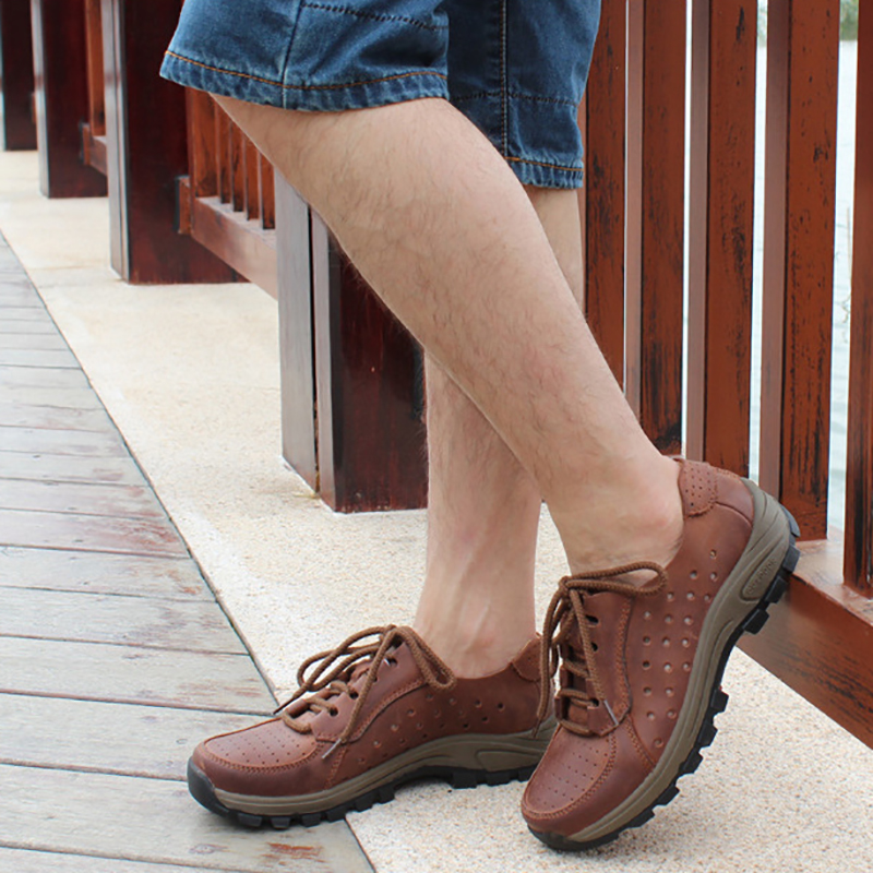 Full Grain Leather Summer Breathable Men Boots RELIKEY Brand Shoes Top Quality Big Size Classic Retro Causal Boots for Men branded men s penny loafes casual men s full grain leather emboss crocodile boat shoes slip on breathable moccasin driving shoes