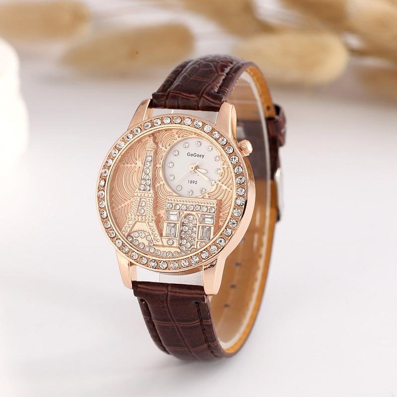 61b1a1d5abc Venda quente Gogoey Marca Paris Torre De Couro relógios Mulheres Senhoras  Vestido De Cristal de Quartzo Relógio de Pulso Feminino GO074 em Mulheres  Relógios ...