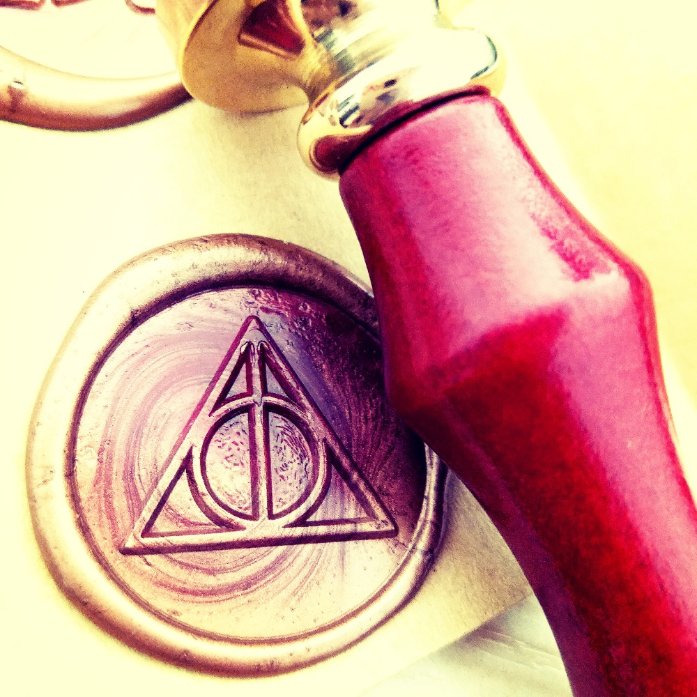 Deathly Hallows wax seals s logo harry potter multi-color brass stamp black deathly hallows glasses bracelet