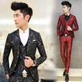2016 Fashion Men Suit Floral Printed Men's Suits 3 PCS / Set Korean Terno Slim Fit Wedding Prom Blazer Stage Clothing for Men