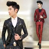 Nuevos Hombres de La Manera Traje Floral Impreso Trajes de Hombre 3 UNIDS/conjunto Coreano Terno Slim Fit Boda Prom Blazer Ropa de la Etapa de hombres