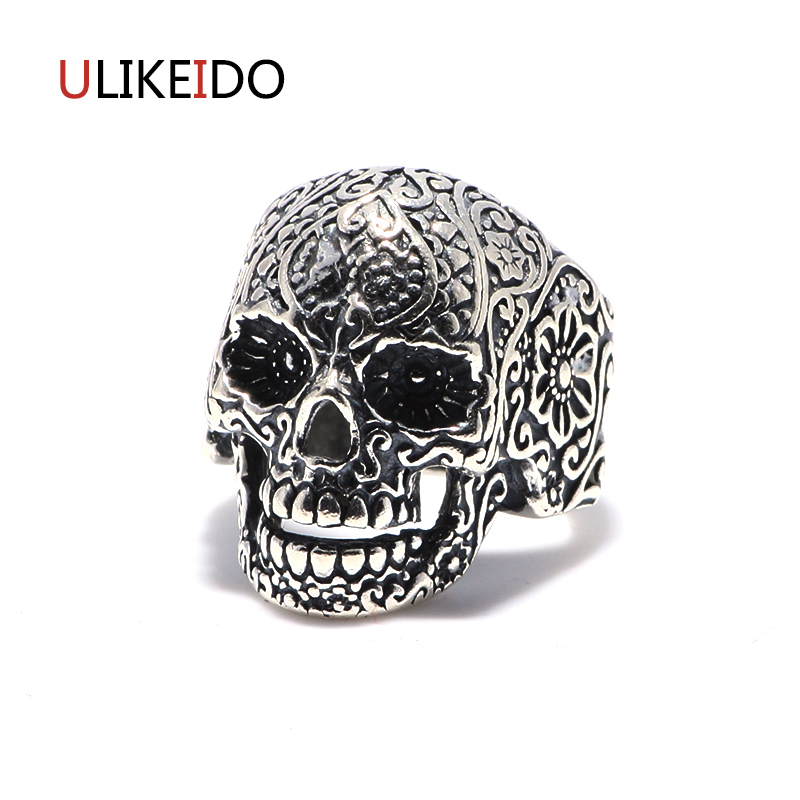 100% Pure 925 Sterling Silver Jewelry Skull Mens Signet Rings Pattern Carved Pirate Skeleton Punk Ring For Men Special Gift 288100% Pure 925 Sterling Silver Jewelry Skull Mens Signet Rings Pattern Carved Pirate Skeleton Punk Ring For Men Special Gift 288