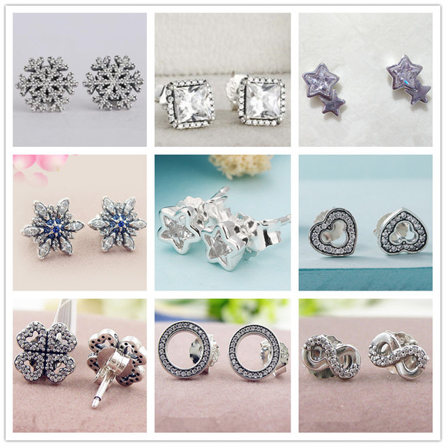 Christma collection earings brinco 925 Sterling Silver Snowflake Stud Earrings f