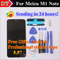 """Em Estoque! para Meizu M1 Nota Digitador Da tela de toque + Display LCD Para Meizu M1 Nota 5.5 """"Celular Cor Preta Livre grátis"""