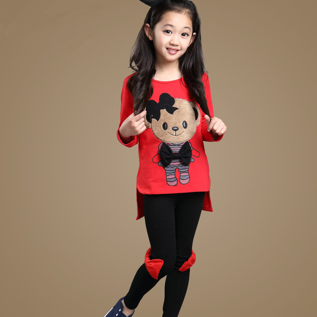 40e1929c923 Girl Suit Spring Korean New Pattern Pure Cotton Motion Leisure Time Cartoon  Spelling Color 2 Pieces Set Kids Clothing