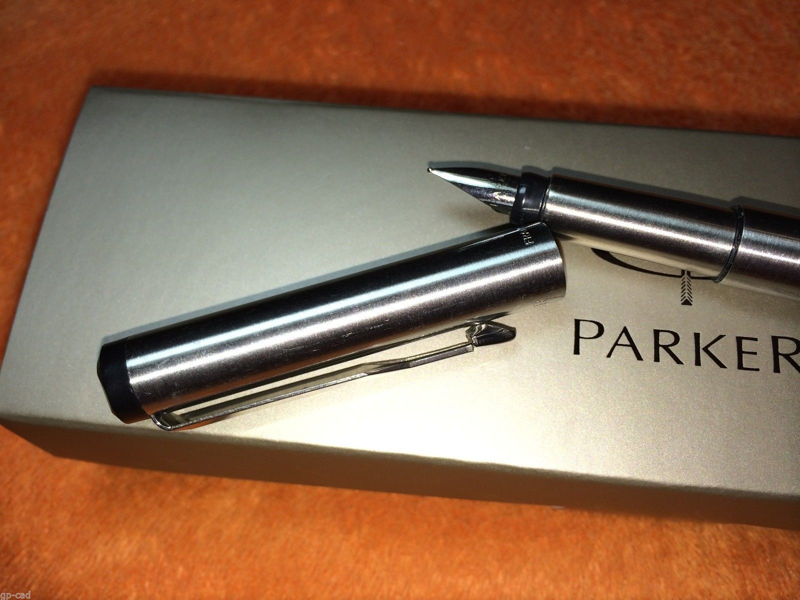 Parker Vector Stainless Steel Fountain Pen Med Pt New In Box