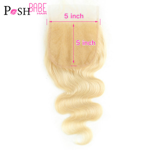 POSH BABE Blonde 613 Color 5x5 Closure Brazilian Remy Body Wave Free Middle Part Human Hair Closure with Baby Hair Free Shipping(China)