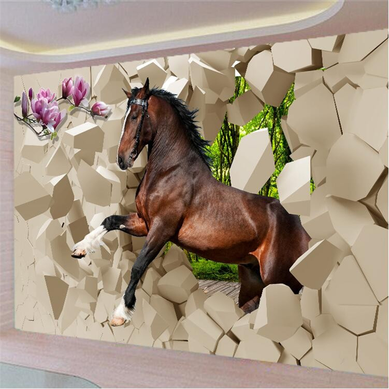 Beibehang Photo Wallpaper 3D Flooring Stereoscopic Poqiang Horses Galloping Into The Room Painting The Living Room TV Backdrop