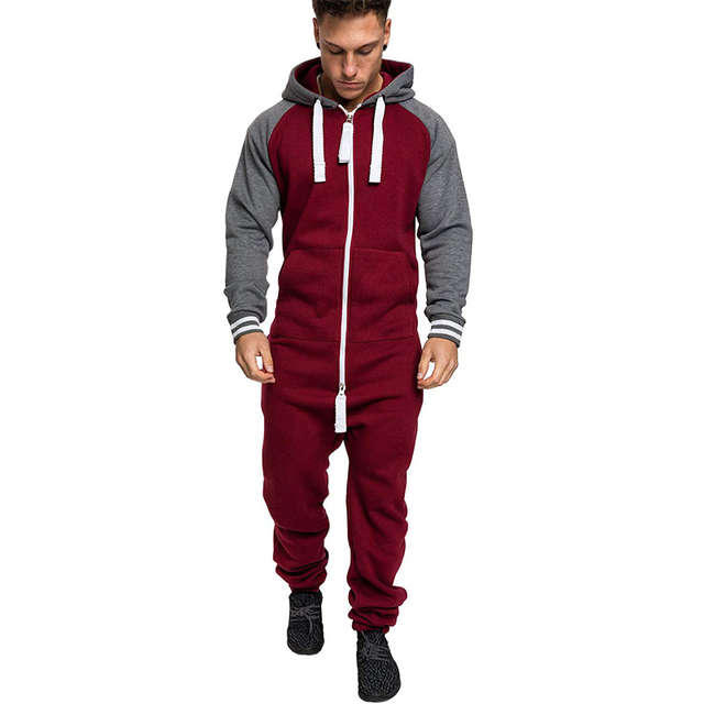 Casual Autumn Hooded Tracksuit Jumpsuit Long Pants Romper For Male Mens Fleece warm Overalls Sweatshirts Male Streetwear X9126 3
