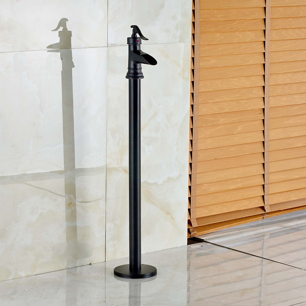 New Oil Rubbed Bronze Bathtub Faucet Floor Mount Waterfall Tub ...
