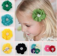 New High Quality Handmade Hand Sewing Pearl Chiffon Flower Clip Childrens Headgear Accessories Flowers YH508