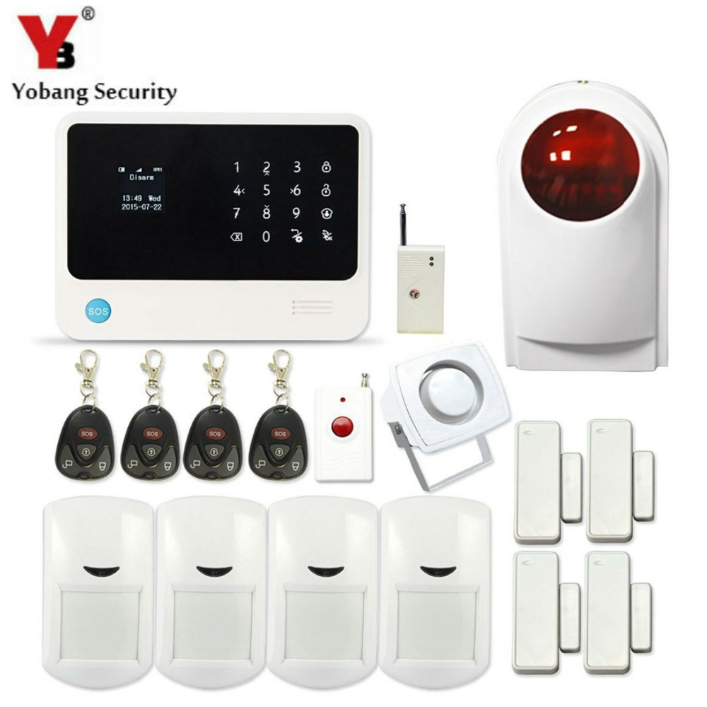 YobangSecurity GSM WiFi Alarm System G90B Touch Keypad GSM Home Burglar Security Alarm System with Outdoor Strobe Siren yobangsecurity wifi alarm system wireless flash siren gsm burglar alarm g90b touch keypad app pir detector door gap sensor