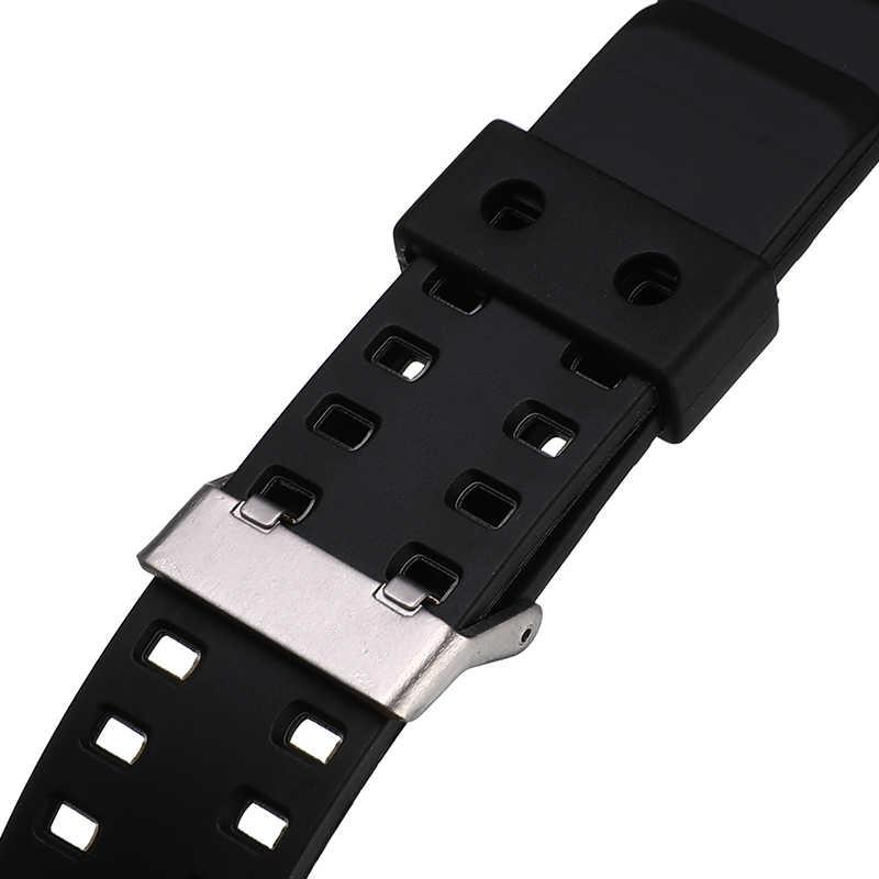 גברים ספורט צלילה סיליקון שעון רצועת גומי Watchbands Watchstrap 16mm נירוסטה אבזם שעון אביזרי עם כלי ערכות