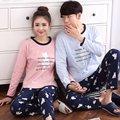 Primavera Otoño Pijamas Pijamas de Las Mujeres Fijó Ocasional Pareja Algodón de Los Hombres Ropa de Dormir Ropa de Dormir de Salón Hogar Ropa Femenina Trajes