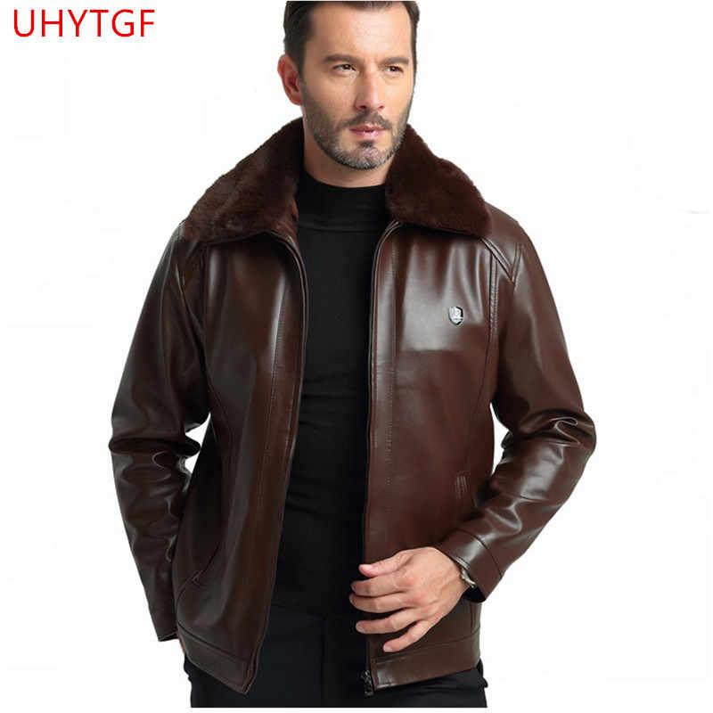 Кожаная куртка для мужчин пальто осень зима новые Топы пальто воротник из густого меха PU кожаная куртка Модные мужские кожаные куртки 5XL569
