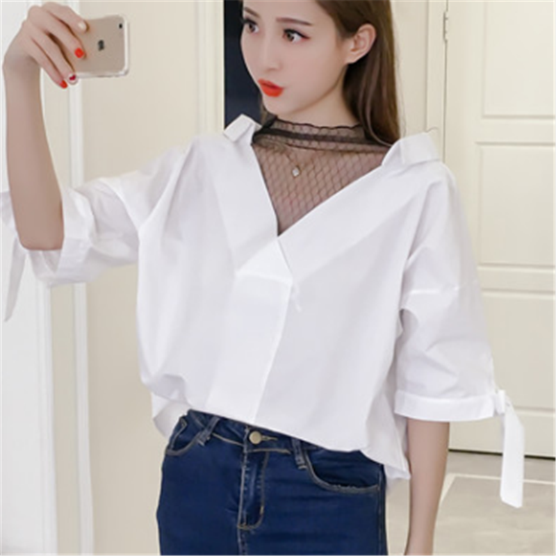 Women Shirts Lace Blouse Women Summer Mesh Patchwork Shirts for Woman Office Lace V-neck White Blouse Plus Size Woman Ladies Top