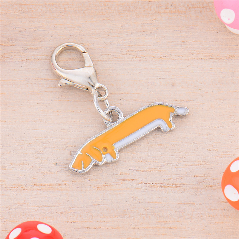 0.7 * 2.5 cm Metal Durable Dog Dachshund Style Pet Decorations Key Ornaments