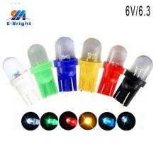 200 pcs DC 6V 6.3V T10 R LED Bulbs Pathway Lighting Clearance Reading Lights White Blue RGB Red Green Amber 20lm