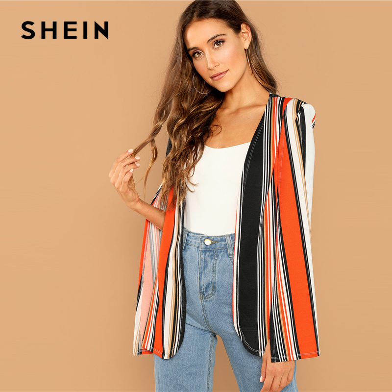 SHEIN Weekend Casual Multicolor Open Front Striped Cape Cloak Sleeve Coat 2018 Streetwear Modern Lady Outerwear Coat New