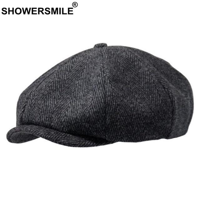 73a9269c99f2a SHOWERSMILE Brand Wool Newsboy Caps Men Grey Herringbone Flat Caps Women  Coffee British Painters Hat Autumn