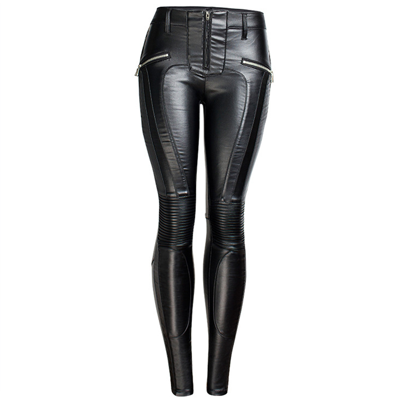 19 Winter Plus Size Stretch PU Leather Pants For Women High Waist Joggers Womens Trousers Pencil Skinny Waisted Female Pants 22