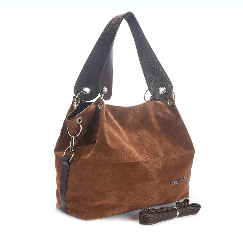 Daunavia фирменные сумки из натуральной кожи женские большие сумки Высокое качество Женские сумки через плечо, сумки с высокой ручкой, из мягкого вельвета винтажная Сумка-тоут - Цвет: Шоколад