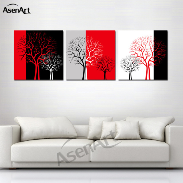 rot schwarz wei drei farbe baum bild moderne 3 panel kunstwerk leinwand drucken f r zuhause. Black Bedroom Furniture Sets. Home Design Ideas