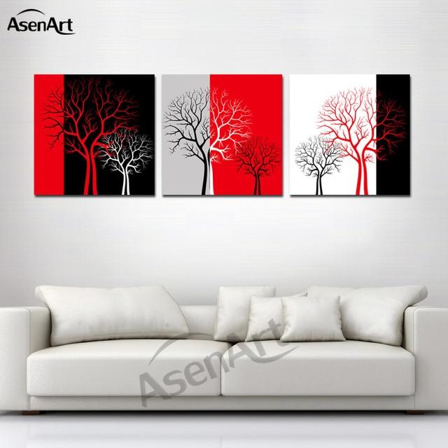 rot schwarz weiß drei farbe baum bild moderne 3 panel kunstwerk ... - Wohnzimmer Rot Schwarz