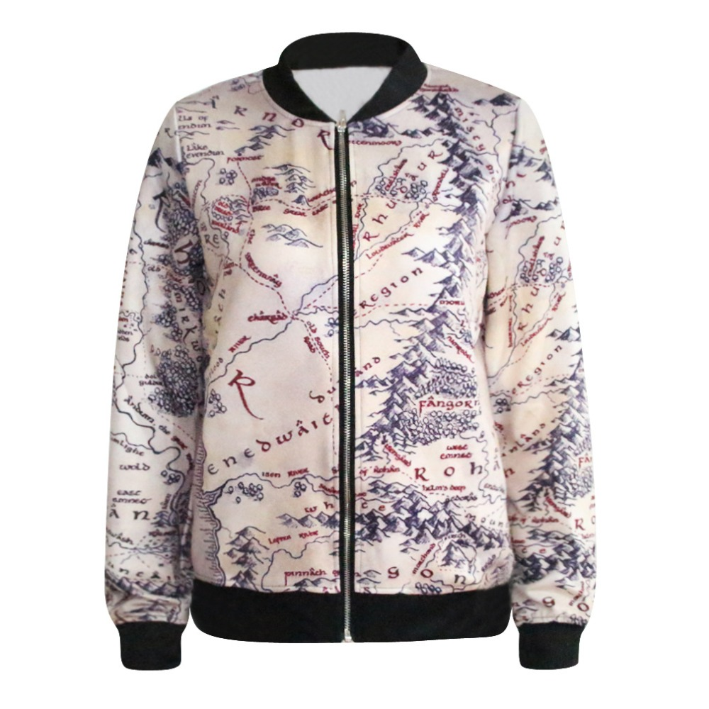 fashion lord of the rings jacket middle earth map punk women