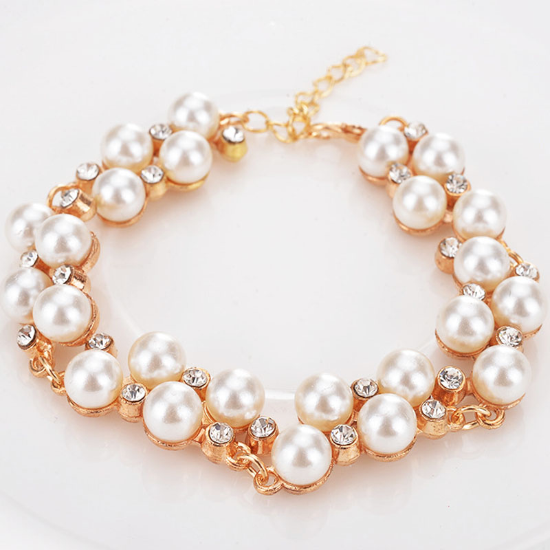 Extendable Double Layer Imitation Pearls Hand Chain Bracelets Full Dazzling Rhinestones Bangles Hand Decoration Jewelry SL034