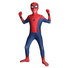 Kids Spiderman Homecoming Cosplay Costume Child Spider-man Spandex Lycra Nylon Zentai Suit Halloween Bodysuit