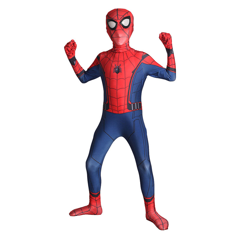 Kids Spiderman Homecoming Cosplay Costume Child Spider-man Spandex Lycra Nylon Zentai Suit Halloween Bodysuit