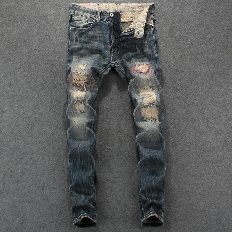 Fashion Vintage Designer Men Jeans Retro Slim Fit Destroyed Ripped Jeans Homme Patch Denim Pants Streetwear Hip Hop Jeans Men