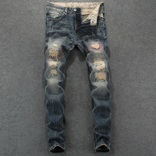 Fashion Vintage Designer Men Jeans Retro Slim Fit Destroyed Ripped Jeans homme Patch Denim Pants Streetwear Hip Hop Jeans Men fashion streetwear men jeans retro wash slim fit paint designer ripped jeans men printed pants destroyed hip hop jeans