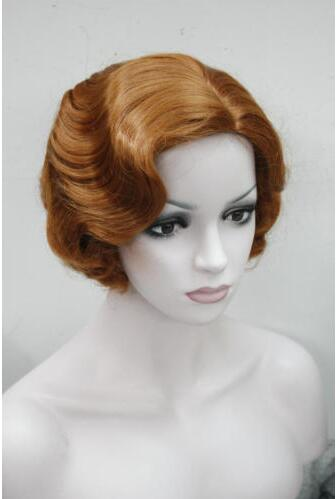 Womens Retro Short Finger Wave Curly Wavy Pinup Wigs Halloween Cosplay Wig недорго, оригинальная цена