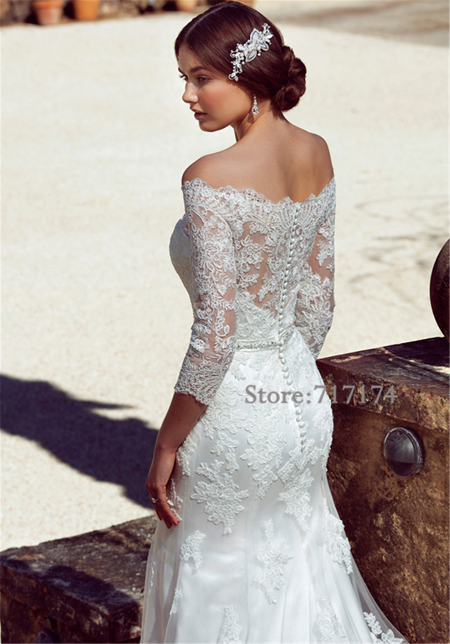 Classic Spanish Style Lace Applique Off the Shoulder Three Quarter ...