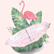 Creative folding tri-fold transparent cherry blossom flamingo umbrella art fresh and lovely