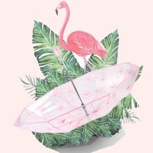 Creative folding tri-fold transparent cherry blossom flamingo umbrella art fresh and lovely