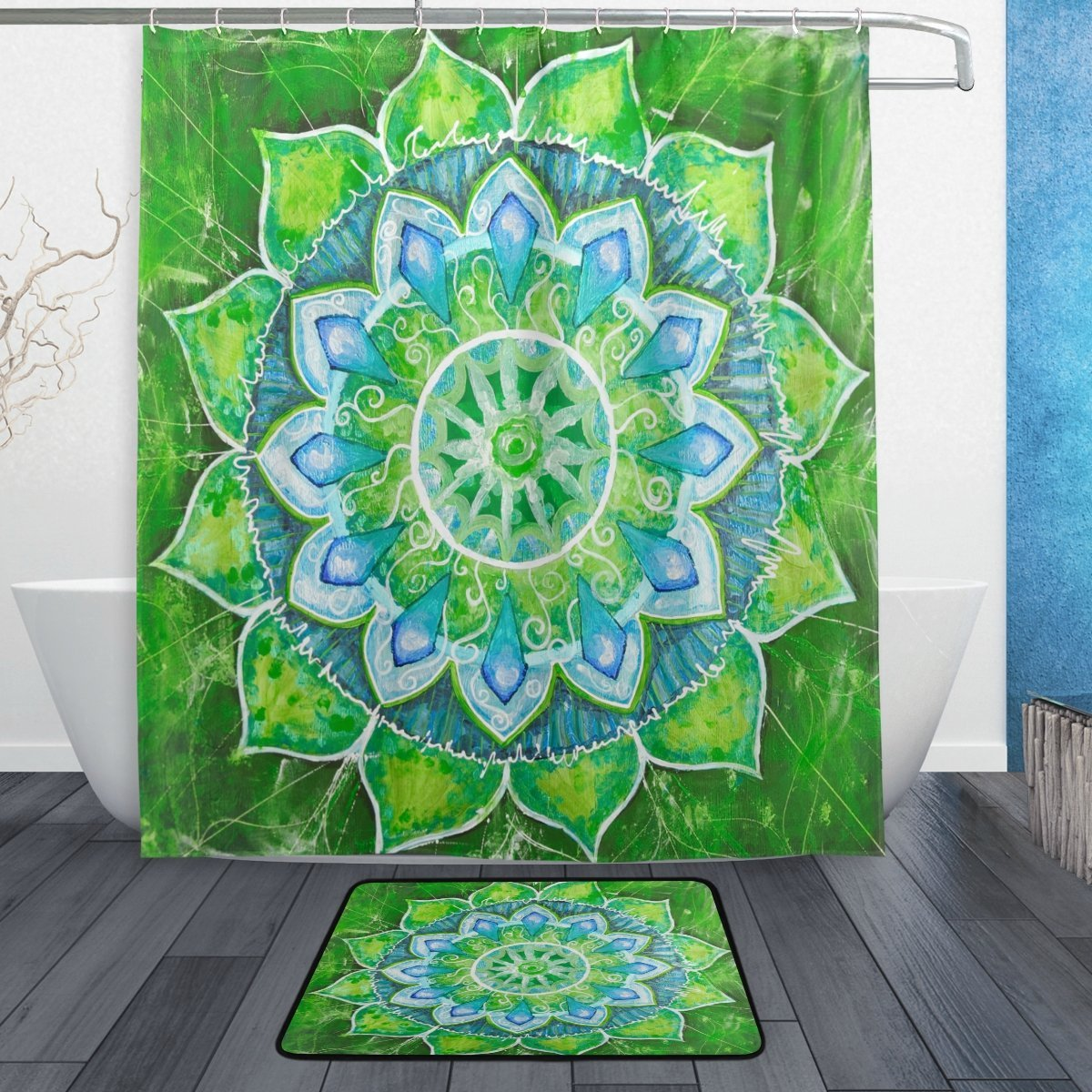 Floral Flower Indian Mandala Shower Curtain and Mat Set, Ethnic Exotic Flower Abstract Green Painted Waterproof Fabric